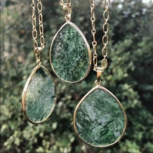 Jewelry - 🍃Moss Agate Boho Necklace 18K Gold Plated Chain🍃